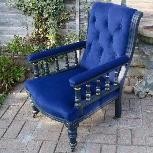 Edwardian Button Back Library Style Arm Chair image-1
