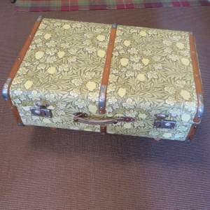 1920s Repurposed Steamer Travel Trunk William Morris Coffee Table