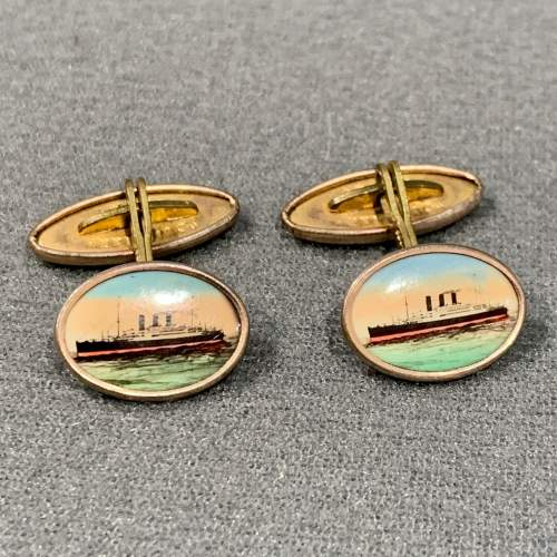 Vintage Gilt Framed Shipping Cufflinks image-1