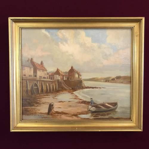19th Century Harbour Scene Painting image-1