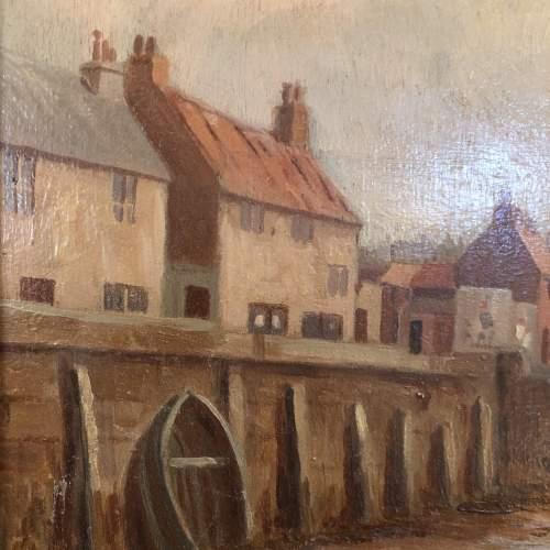 19th Century Harbour Scene Painting image-3