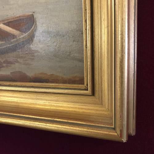 19th Century Harbour Scene Painting image-5
