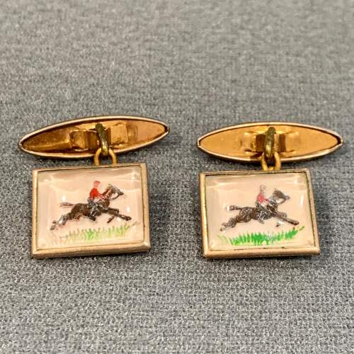Vintage Essex Crystal Horse Riding Cufflinks image-1