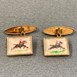 Vintage Essex Crystal Horse Riding Cufflinks