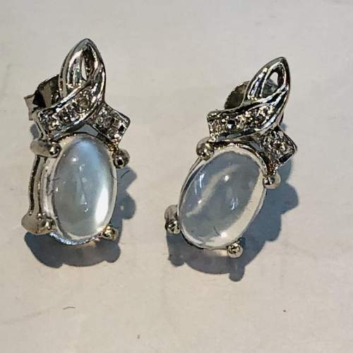 Pair of 9ct White Gold Earrings image-1