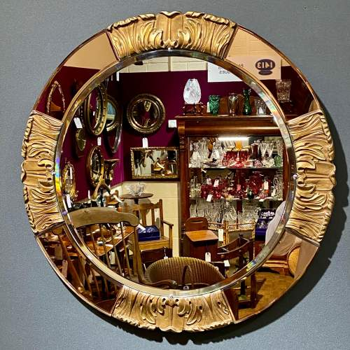 Art Deco Atsonea Circular Wall Mirror with Peach Glass and Gesso image-1