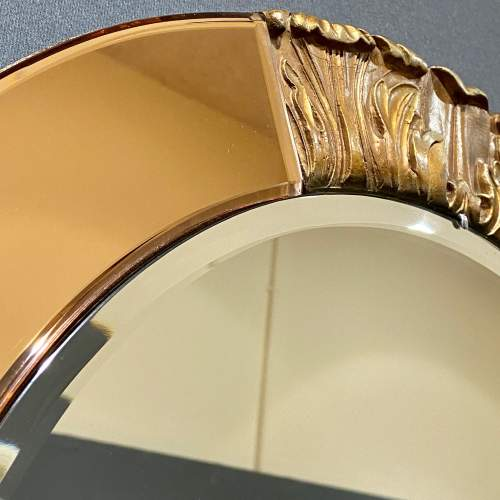 Art Deco Atsonea Circular Wall Mirror with Peach Glass and Gesso image-4