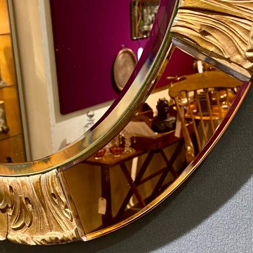Art Deco Atsonea Circular Wall Mirror with Peach Glass and Gesso image-3