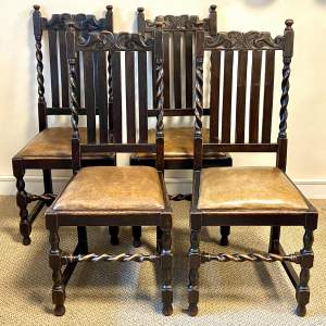 Early 20th Century Set of Four Oak Barley Twist Dining Chairs