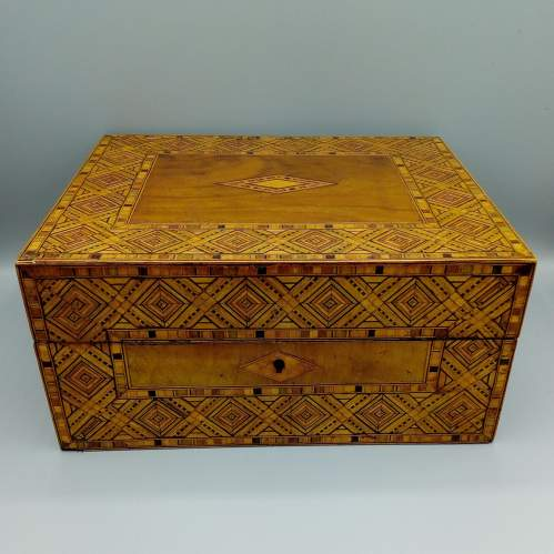 Victorian Walnut Tunbridgeware Inlaid Box image-1