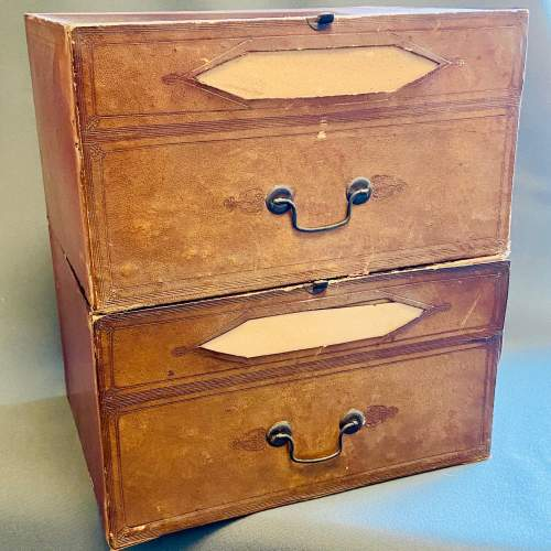 Set of Seven French Leather Fronted Filing Boxes image-2