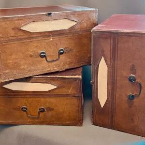 Set of Seven French Leather Fronted Filing Boxes