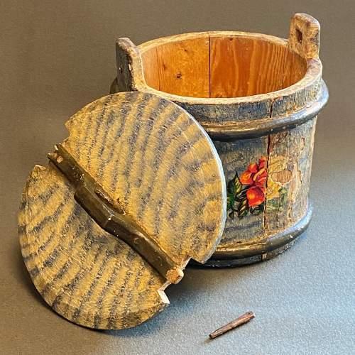 19th Century Swedish Decorated Pine Cheese Barrel image-4