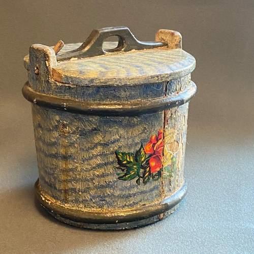 19th Century Swedish Decorated Pine Cheese Barrel image-1