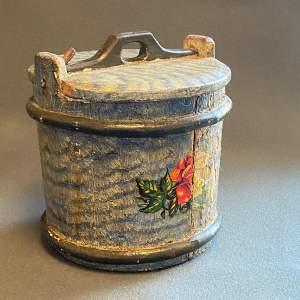 19th Century Swedish Decorated Pine Cheese Barrel