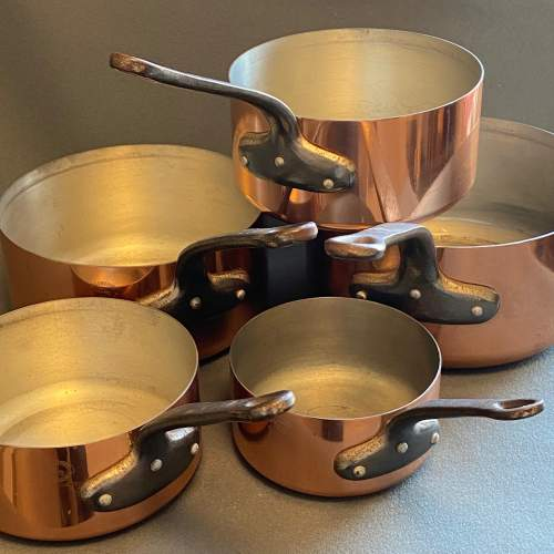 Set of Five Vintage Copper Pans image-5