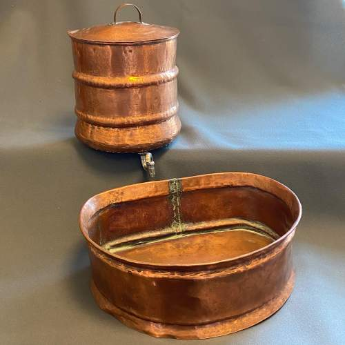 1930s French Copper Water Container and Basin image-1