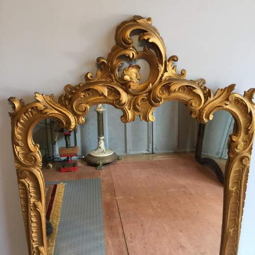 Large Gilt 19th Century Rococo Style Mirror image-2