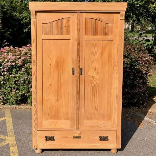 Victorian Continental Pine Double Cupboard Wardrobe image-2