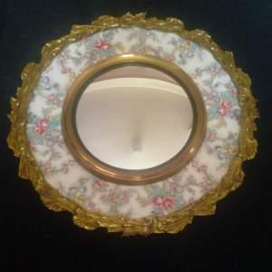 Brass Framed Chintz Porcelain Convex Wall Mirror