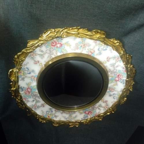 Brass Framed Chintz Porcelain Convex Wall Mirror image-2