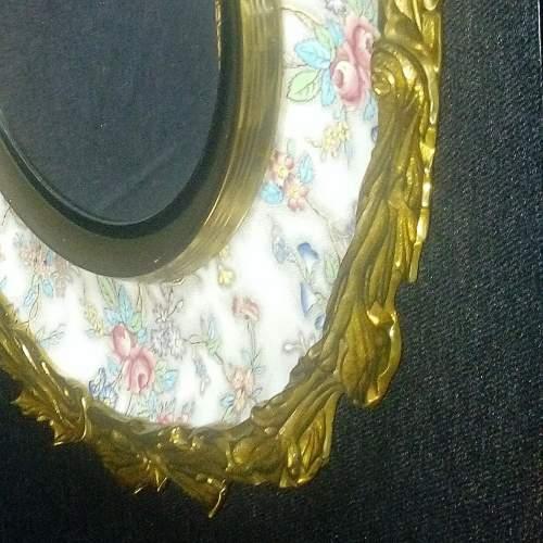 Brass Framed Chintz Porcelain Convex Wall Mirror image-3