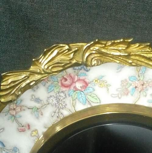 Brass Framed Chintz Porcelain Convex Wall Mirror image-4