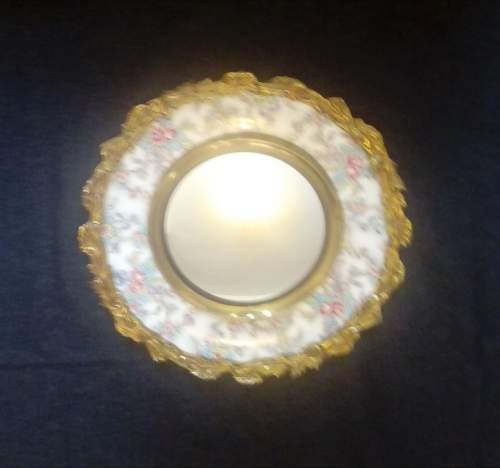 Brass Framed Chintz Porcelain Convex Wall Mirror image-6