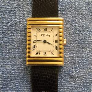 A 1970s Solid Silver Gold Plated Ladies Tank Style Wristwatch