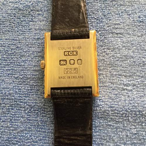 A 1970s Solid Silver Gold Plated Ladies Tank Style Wristwatch image-2