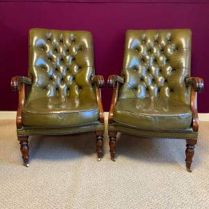 Pair of Green Leather Chesterfield Arm Chairs
