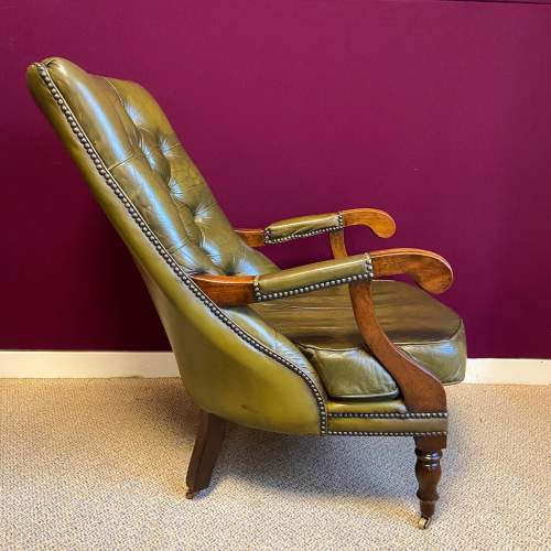 Pair of Green Leather Chesterfield Arm Chairs image-2