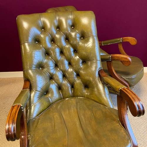 Pair of Green Leather Chesterfield Arm Chairs image-4