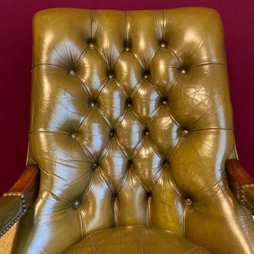 Pair of Green Leather Chesterfield Arm Chairs image-6