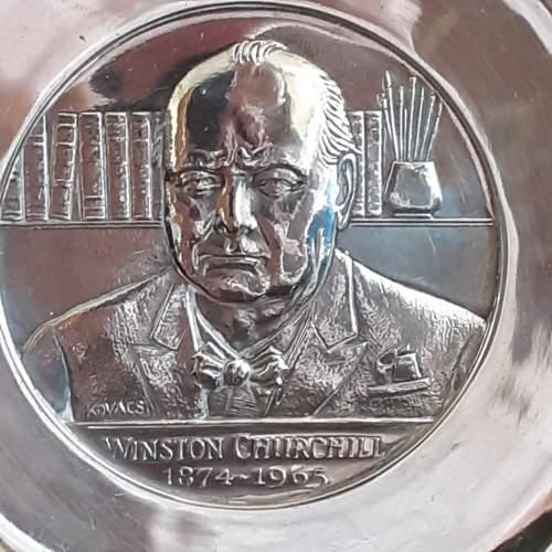 Vintage Solid Silver Winston Churchill Armada Dish image-2