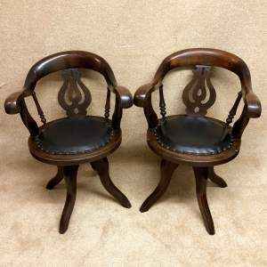 Pair of 19th Century Oak Office Chairs