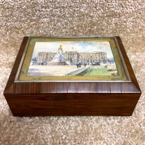Early 20th Century Cigarette Box with Buckingham Palace Watercolour
