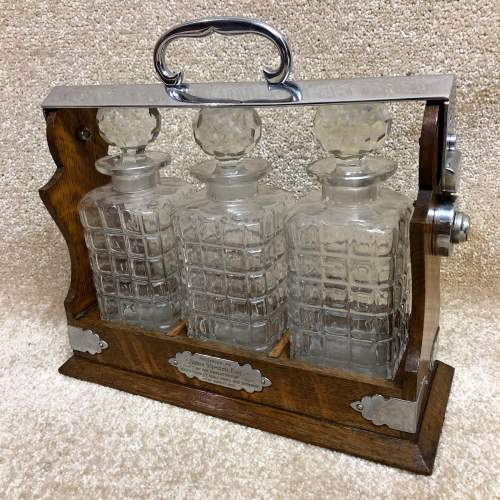Late Victorian Oak Three Bottle Tantalus image-1