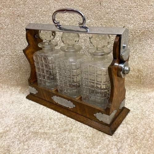 Late Victorian Oak Three Bottle Tantalus image-4
