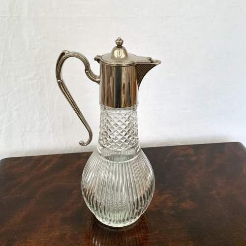 Silver Plated and Hobnail Cut Glass Claret Jug image-2