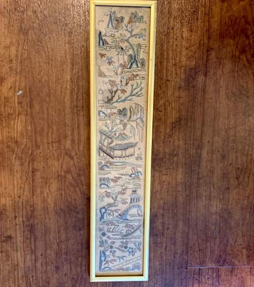 Framed Qing Dynasty Chinese Silk Sleeve image-2