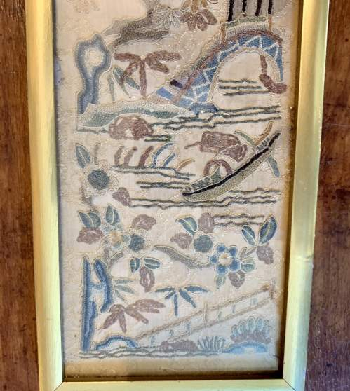 Framed Qing Dynasty Chinese Silk Sleeve image-4