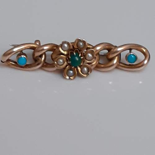 Victorian 9ct Gold and Turquoise Set Bar Brooch with Seed Pearls image-1