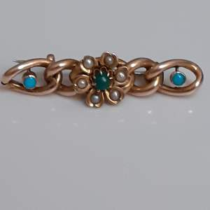Victorian 9ct Gold and Turquoise Set Bar Brooch with Seed Pearls
