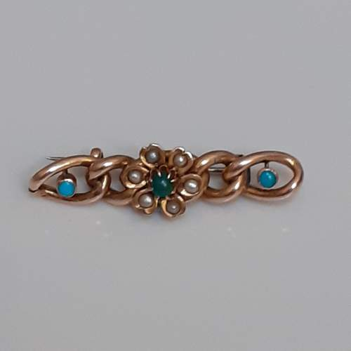 Victorian 9ct Gold and Turquoise Set Bar Brooch with Seed Pearls image-5