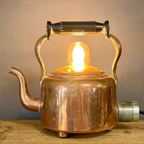 Vintage Upcycled Copper Kettle Lamp image-1