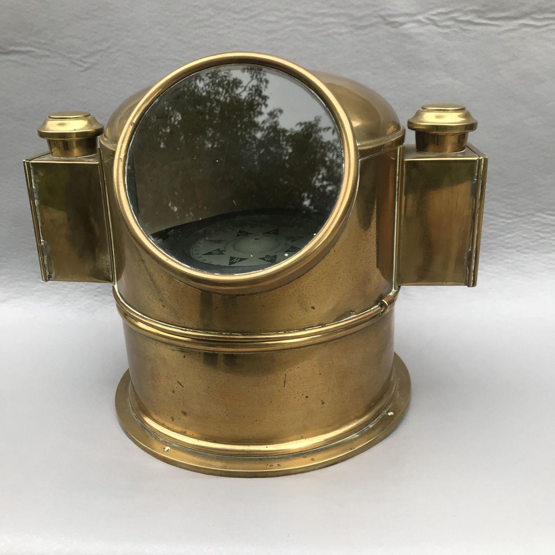 Antique Maritime Binnacle Compass In Brass - Militaria