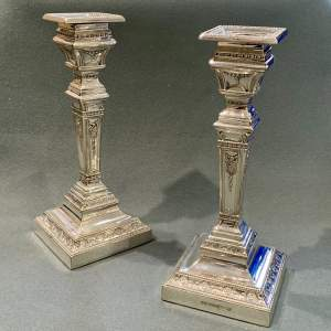 Pair of Edwardian Neoclassical Silver Plated Candlesticks