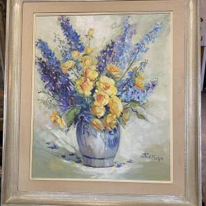 Superb Flemish Signed Oil On Canvas Still Life By Peeters