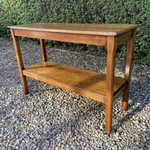 Golden Oak Two Tier Serving Side Table
